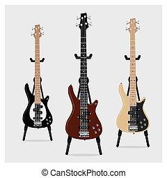 guitarra, vetorial, baixo elétrico