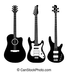 guitarra, vetorial, elétrico