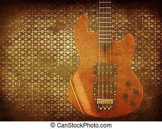 guitarra, vindima, música, fundo
