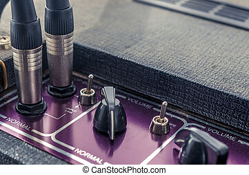 guitarra, vindima, maçanetas, amplificador