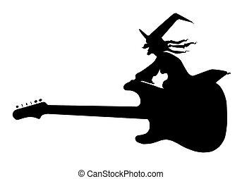 guitarra, vuelo, bruja