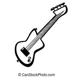 guitarra, wite, negro