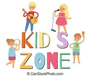 guitarra, zona, músico, musical, cantando, instruments., meninos escola, estudante, caricatura, vetorial, cute, meninas, tambor, illustration., jogo, música, crianças, band., crianças