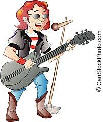 guitarrista, cantante, ilustración