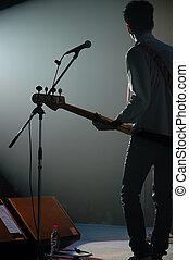 guitarrista, de, um, estoure faixa