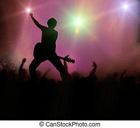guitarrista, en, concierto de la roca