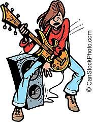 guitarrista, jovem, rocha