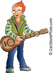 guitarrista, macho, ilustración