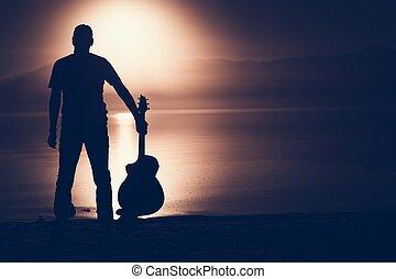 guitarrista, silueta, conceito