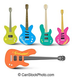 Guitars and Bass Guitars Set. Abstract Musical Instruments Illustration.