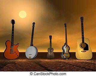 Guitars, banjo and ukulele ny sunset