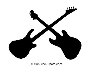 Guitars crossed - Silhouette of an electric guitar and a...