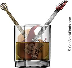 Guitars in a glass of whiskey