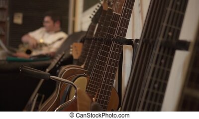 Guitars lined up in the recording studio