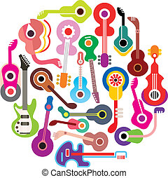 Guitars - round vector illustration. Isolated on white...