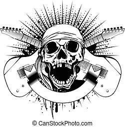 guitars skull - Vector illustration skull with open jaw in...