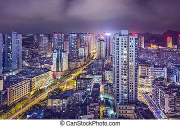 Guiyang, China cityscape at night.