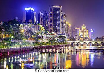 Guiyang, China cityscape on the Nanming River.