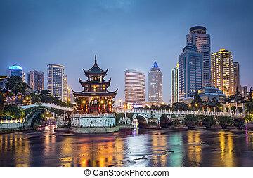 Guiyang, China skyline at Jiaxiu Pavilion on the Nanming ...