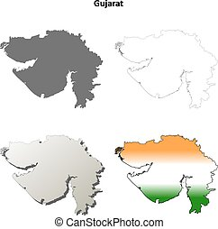 Gujarat blank detailed outline map set