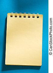 gul, anteckningsblock, på, den, blåttbakgrund