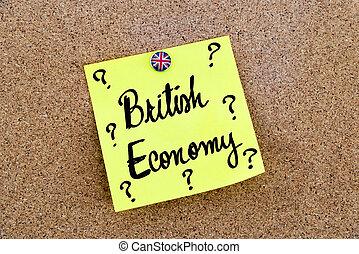 gul, avis noter, pinned, hos, great britain, flag, tegnestift, tekst, britisk økonomi, og, spørgsmål markerer