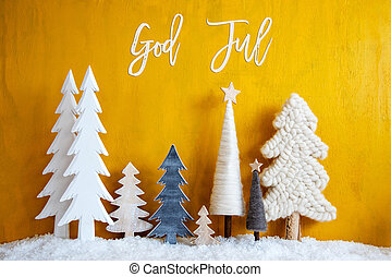 gul, betyder, jul, træer, merry, sne, baggrund, gud, jul