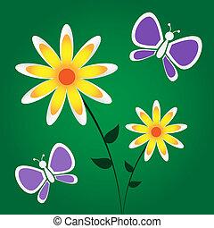 gul blommar, purpur, fjärilar