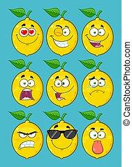 gul, citron, frukt, tecknad film, emoji, ansikte, tecken, sätta, 1., kollektion