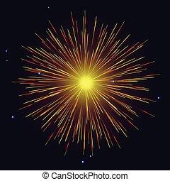 gul, fireworks, oberoende, bakgrund, dag