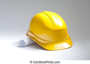 gul, hjælm sikkerhed, hos, udtrækninger