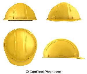 gul, konstruktion, hjälm, fyra utsikter, isolerat