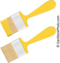 gul, målarpensel
