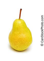 gul, päron, isolerat, på, den, vit fond