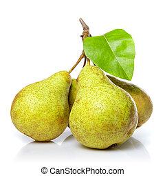 gul, päron, med, blad, isolerat, vita