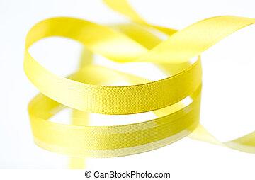 gul, remsor, isolerat, vita