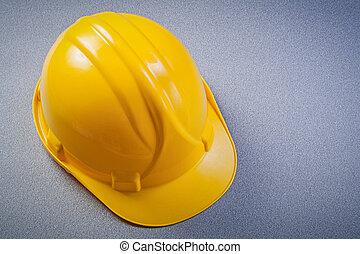 gul, säkerhet, konstruktion, hjälm, på, grå, bakgrund, underhåll