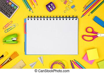 gul, skola, school., ram, baksida, mot, bakgrund., anteckningsbok, space., tom, skaffar, avskrift