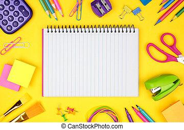 gul, skola, school., ram, baksida, space., fodra, bakgrund., anteckningsbok, mot, skaffar, avskrift, tom