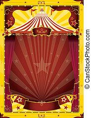 gul, stor topp, cirkus, affisch