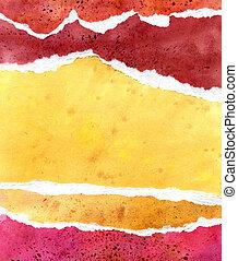 gul, vattenfärg, papper, bakgrund, apelsin, röd