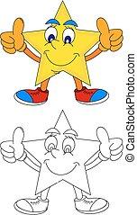 gula stjärna, med, a, le, och, a, tummar uppe