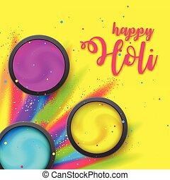gulaal, beschriftung, poster., hintergrund., holi, fest, flüssiglkeit, pulver, hindu, fluid., rangpanchami, gelber , ink., dhulandi, explosion, glücklich, staub, lancierte, card.