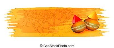 gulal, banner, (powder, farbe, gelber , holi, aquarell, color)