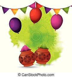 gulal, girlande, farbe, dekoration, pulver, luftballone