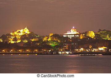 Gulangyu Island at sunset from Xiamen downtown