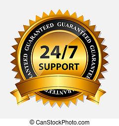 guld, 24/7, stöd, etikett, underteckna, vektor, mall