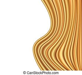 guld, abstrakt, tyg, vektor, lyxvara, bakgrund, wave.
