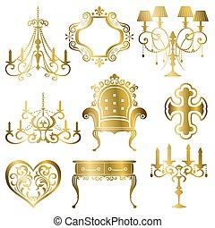 guld, antik, formgiv element, sæt