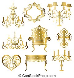guld, antikvitet, formge grundämne, sätta